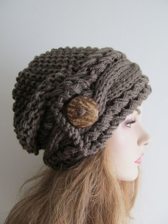 Slouchy Beanie Cable Slouch Hats Wood Button Braided