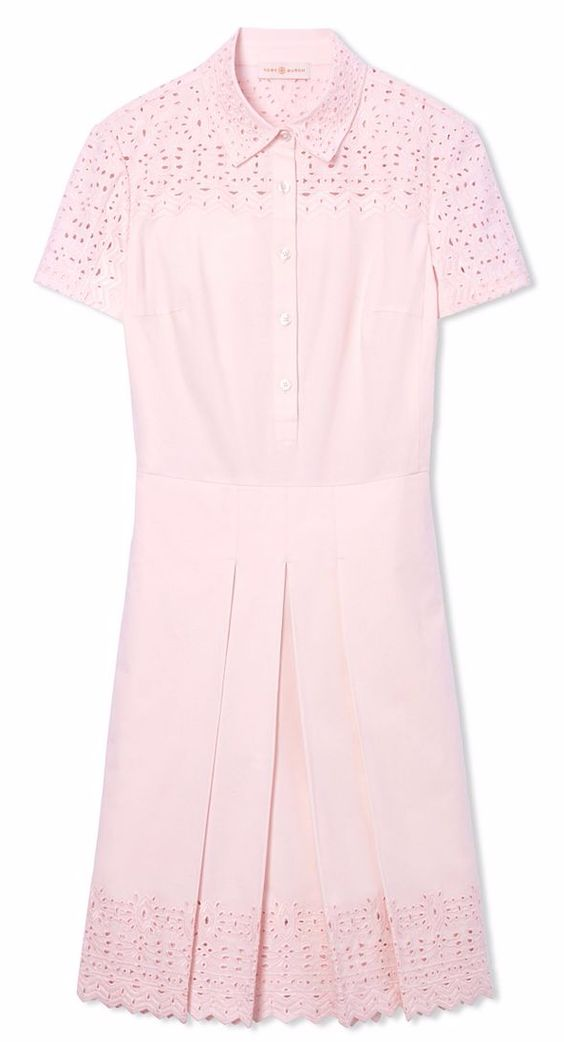 Pink Embroidered Shirt Dress
