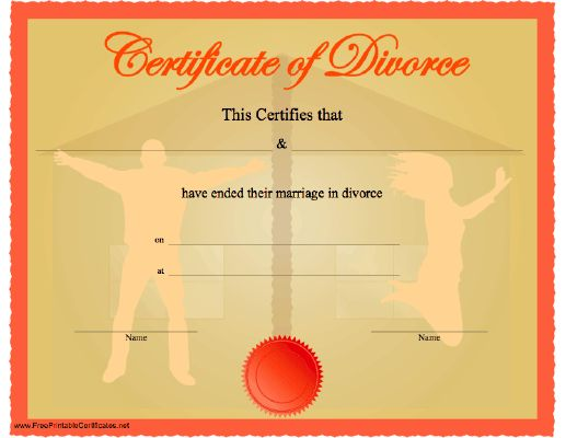 A celebratory, funny certificate of divorce showing silhouettes of - free fake divorce papers