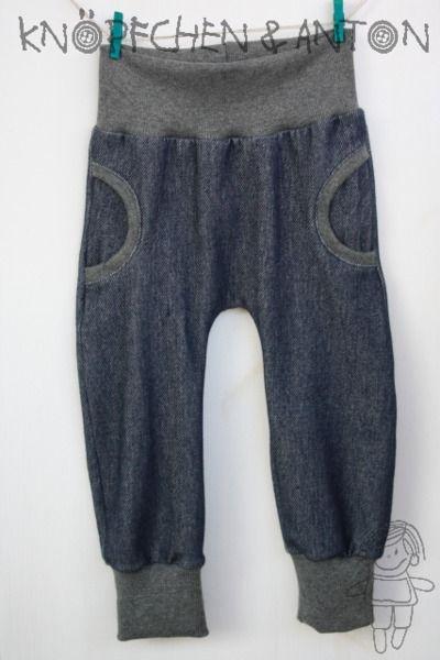 Babyhose - Faux-Pocket-Pants - Lillestoff, Jersey/ Jeansoptik von Knöpfchen und Anton auf DaWanda.com