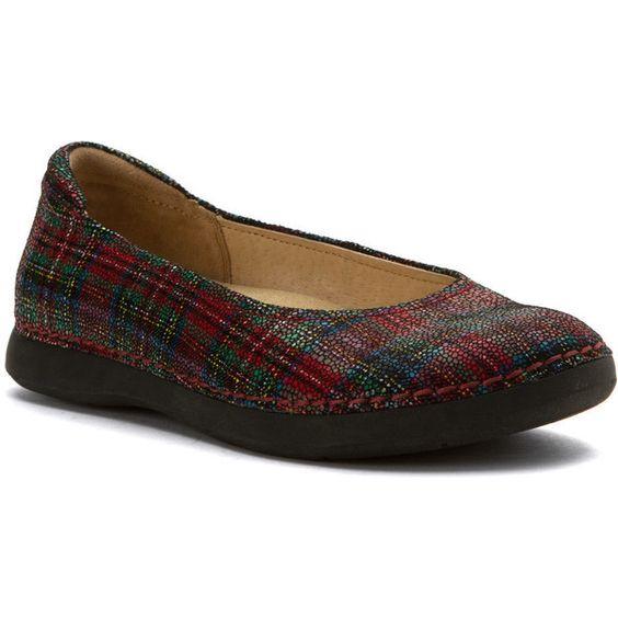 Alegria Women's Petal Flats ($140) ❤ liked on Polyvore featuring shoes, flats, tartan, flat shoes, ballerina flat shoes, ballerina shoes, slip-on shoes and slip on flats