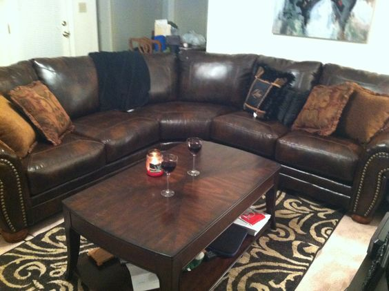 Ashley furniture sectional with nailhead detailing for - Muebles ashley catalogo ...