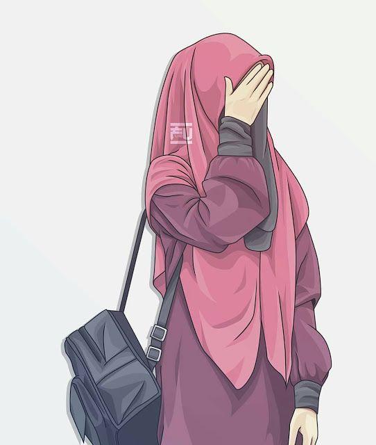 Anime Wallpaper Hijab Muslimah Cute Lukisan Keluarga Kartun Gambar