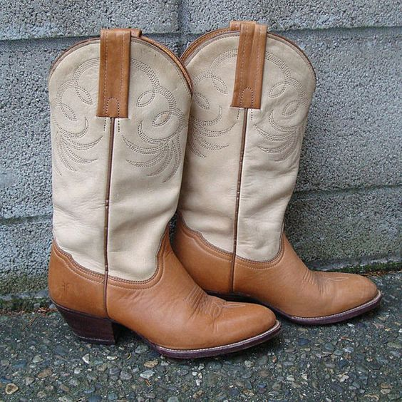Frye Cowboy Boots Vintage 1980s Two tone by purevintageclothing, $98.00