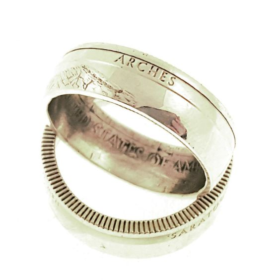 90% Silver Arches National Park Coin Ring Your Size MR0702-TNPAR