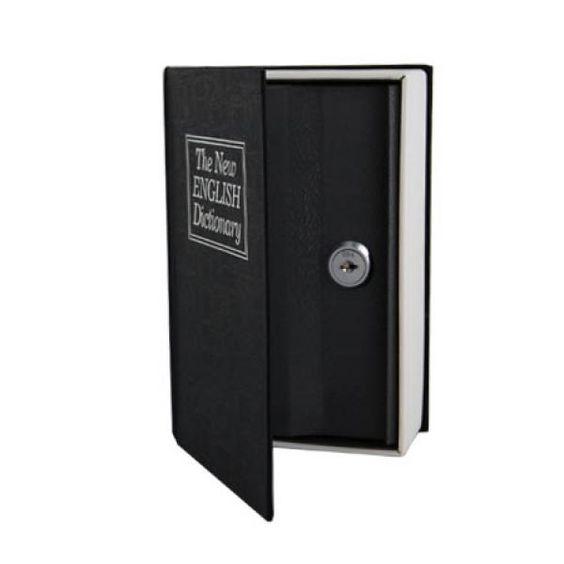 Con este diseño conseguirá tener a mano su caja de ahorros de forma discreta en su biblioteca particular. Aparentemente por fuera tiene aspecto de libro diccionario pero una vez se abre la tapa principal descubrimos la cerradura de nuestra caja de seguridad. Solo tendrás que guardar la llave para poder acceder a tus pertenencias.Dispone de unas medidas de 19 x 11,5 x 5,4 cm.