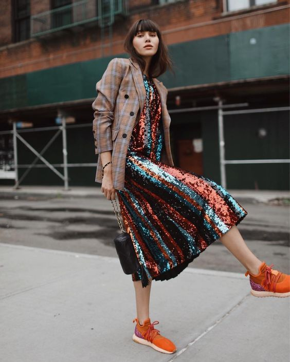 Sequin dress and plaid blazer— on the lovely @natalieoffduty ⚡️ _ I've never met a sequined dress I never liked, but this one by @beatricebitalia takes the cake out of them all. With this boyish blazer, it brings a little When Harry Met Sally to the confetti party, in the best way. #BeatriceB @frenchrebellion #frenchrebellion #beatriceblookinggreat #beatricebitalia #readytowear #madeinitaly #influencer #coloursconversation #Fall18 #streetstyle