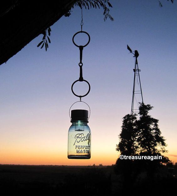 Horse Bit Mason Jar Solar Light Recycled Garden Decor by treasureagain http://etsy.me/1o2RlZN: