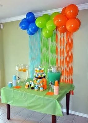 Splish splash party decorations balloon backdrop for Simple balloon decoration ideas at home