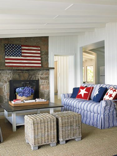 All American Decor Red White Blue Home Remodeling And Fireplaces