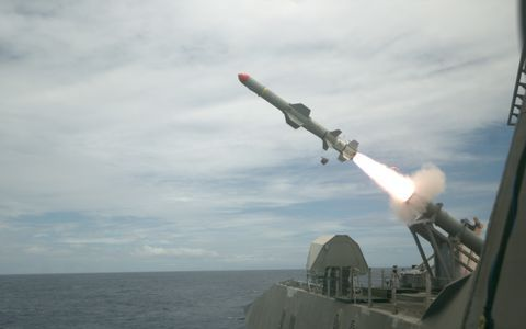 A Harpoon anti-ship missile launched from the USS Coronado. U.S. NAVY PHOTO BY LT. BRYCE HADLEY