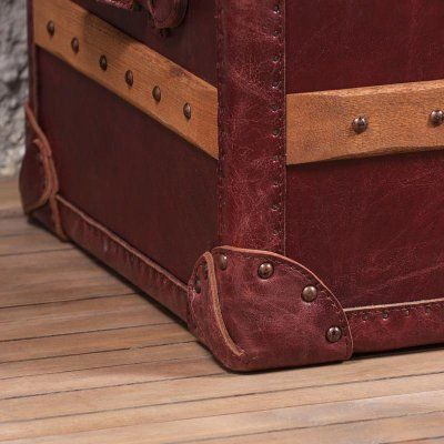 Harrow Medium Trunk  Leather Library Red