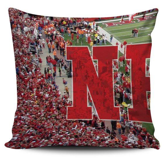Nebraska Panoramic Stadium Pillow Cover Set
