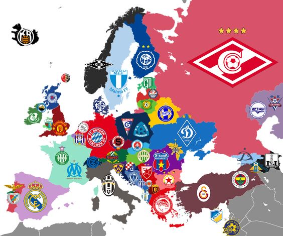 Map of all European Record Champions – Map of All Europe