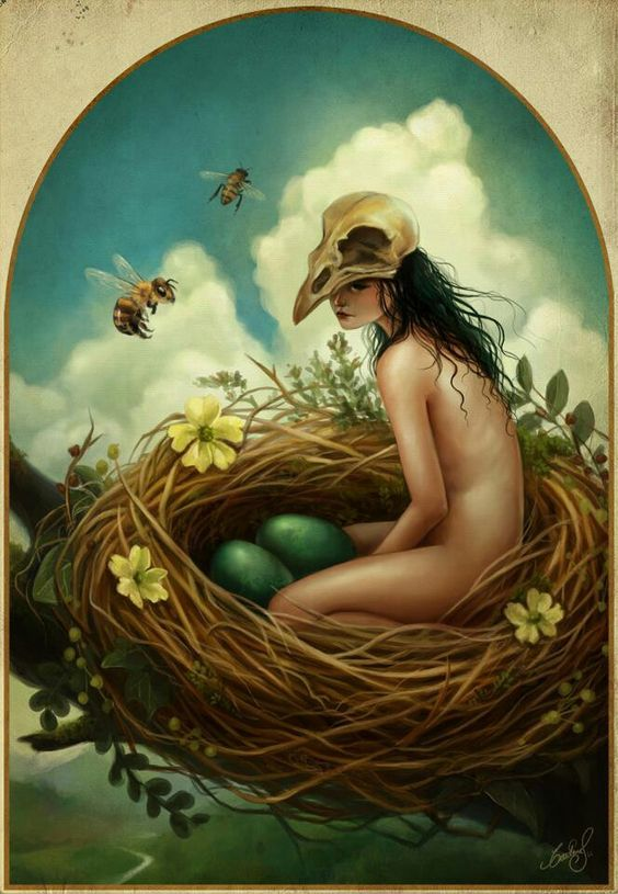 Spring Nest. wow. everything I love! Nests, bees, cumulus clouds... um being naked wearing a skull on my head... OK. 3 out of 4 ain't bad.