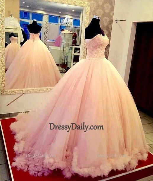 Ball Gown Sweetheart Tulle Long Pink Prom Dress - Wedding Dresses - Weddings