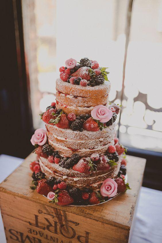 Naked Cake Sponge Layer Berries Icing Crate  Street Party London Spring Flower Wedding http://www.modernvintageweddings.com/