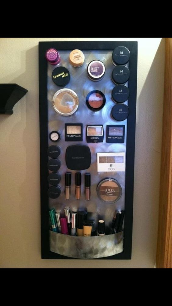 Clear up your vanity by glueing  magnets to the back of your make up to store in the door of a cabinet to keep makeup out of the way!