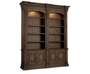 Rhapsody-Striking the perfect balance of rustic detail and opulent style, this bookcase is the perfect frame for priceless books, antiques or mementos. Touch lighting, ten shelves and two door cabinets.
