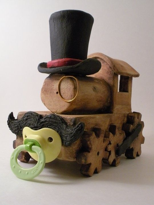Baby Steampunk Train Sculpture by OlBlueHairsOddities on Etsy, $60.00
