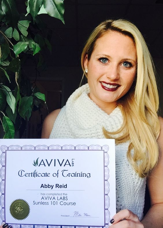 Abby Reid, another happy graduate of Aviva Labs with her Sunless 101 ...