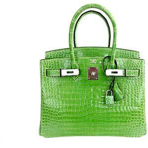 Hermes Birkin Bag 30cm New Color Menthe Mint Crocodile Porosus