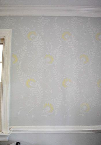 stenciled wall: Stencil Coloring, Stenciling Idea, Pretty Stenciling, Stenciled Wall, Wall Stencils, Grey Stencils, Beautiful Stenciling, Dude Stencils, Stencil Wall