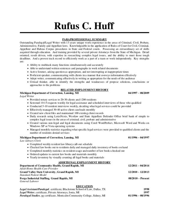 paralegal resume - Google Search The Backup Plan Pinterest - paralegal resume template