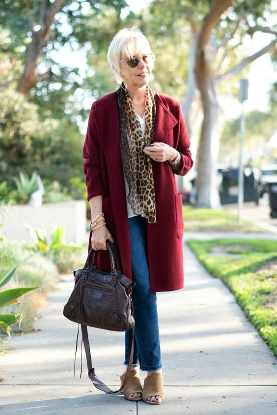 Style blogger Susan B. wears a J.Crew sweater-jacket, leopard print scarf and denim. Details at une femme d'un certain age.