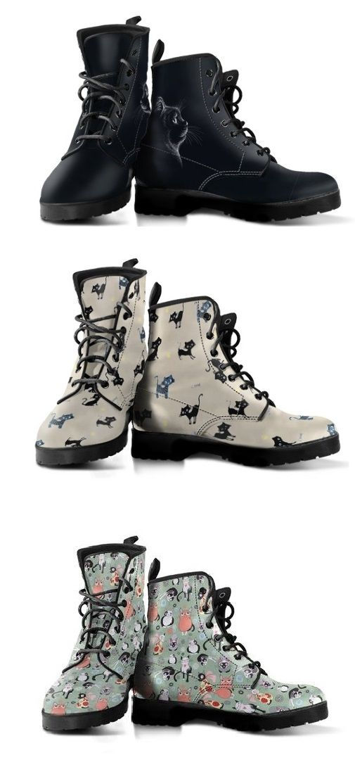 Custom Printed Vegan Leather Boots For Cat Lovers Vegan Leather Boots Boots Leather Boots