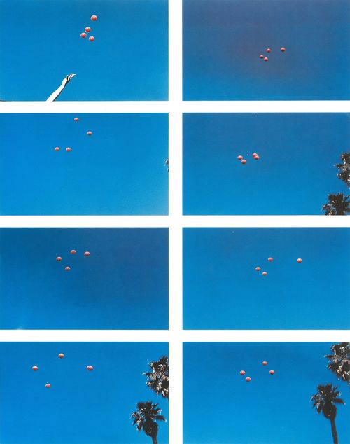 John Baldessari. Saw this one and loved it. Want to try it but I need a blue sky and a palm tree. Oh and some talent! Throwing balls in the air to get formations. Fun!!