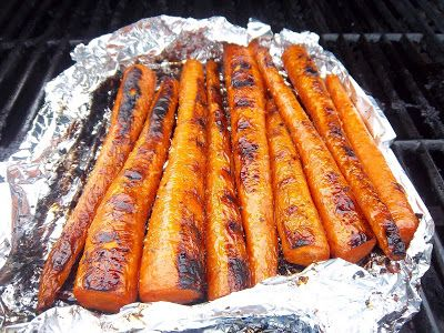Grilled Carrots..i peeled the carrots, drizzled with olive oil, sprinkled with salt substitute and hickory salt on both sides. Grilled in foil then when almost done put directly on grill to get more marks.....very yummy