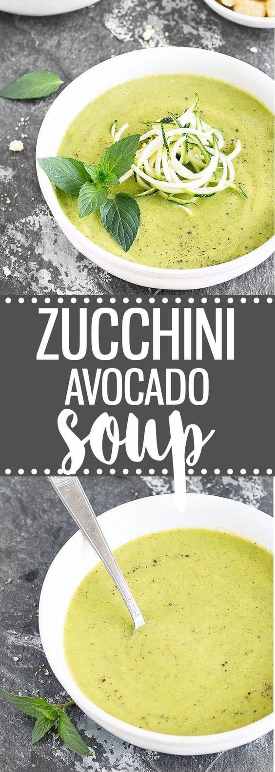 Creamy Zucchini Avocado Soup: a 20-minute healthy, easy recipe. | vegan via /easyasapplepie/