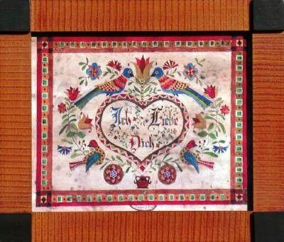 Fractur - Ich Liebe Dich, American Folk Art, Collectible, Affordable Art