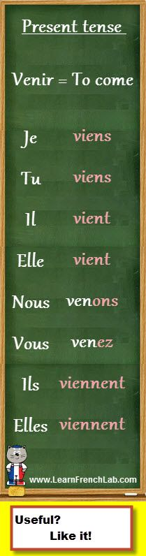 https://www.learnfrenchlab.com Learn French #verbs How to conjugate venir (to come) in the present tense - more on my website: http://bestfrenchlessons.com