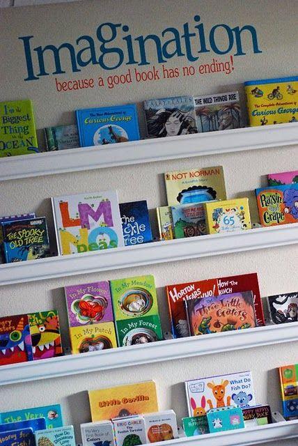 Rain Gutter Book Shelves!  LOVE IT!!!