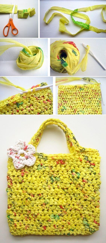 Crochê com sacolas plásticas.: