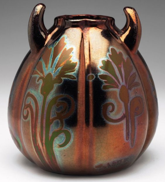 "Weller Pottery, Sicard; bulbous, lobed vase with upturned handles, marked, 5.5""w x 6.5""h, SOLD $1,500"