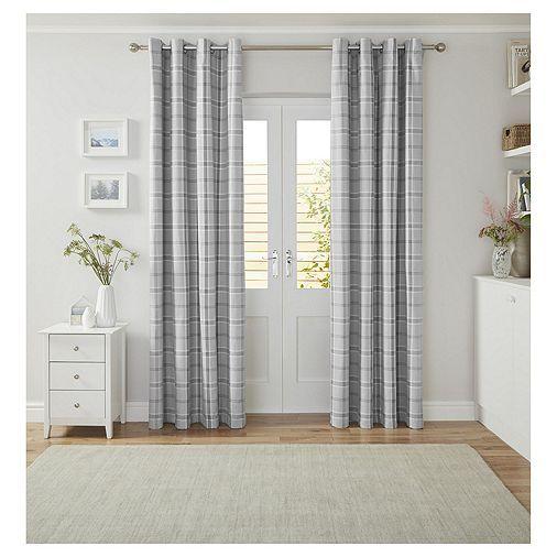 Tesco Check Curtains Grey 66x90