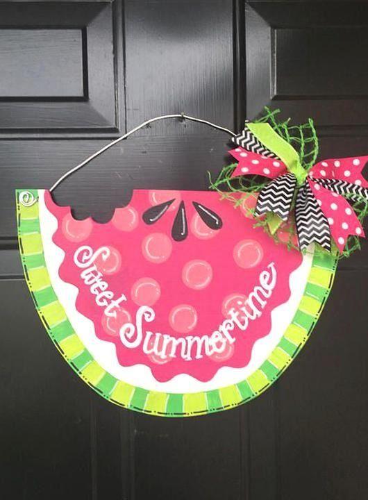 This Charming Watermelon Door Hanger Will Look Great On Your Door All Summer Lon 1000 In 2020 Door Hangers Hand Painted Hanger