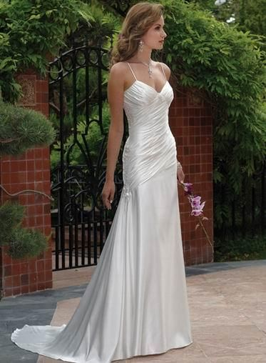 Mermaid dress flared thin strap v neck chapel train satin wedding dress