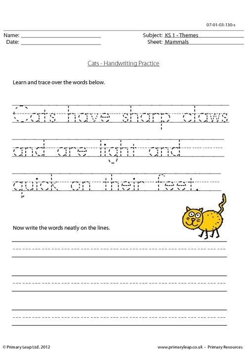 Worksheet Handwriting Practice Worksheets cats the words and on pinterest handwriting practice worksheet for ks1 pupils trace over then write words