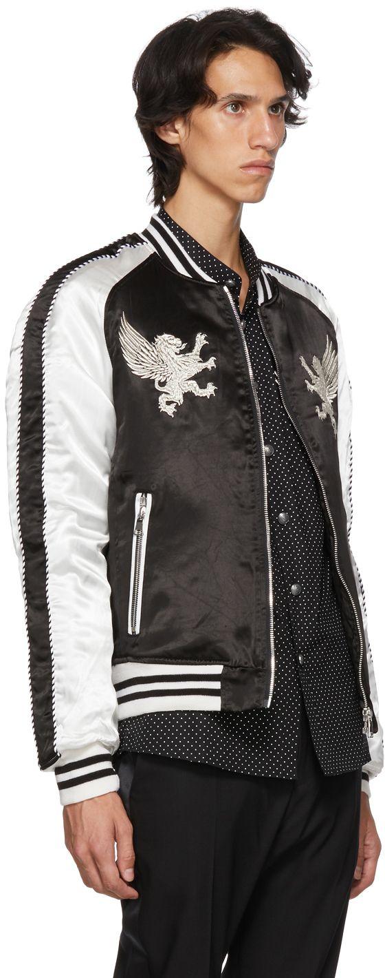 Balmain Black White Satin Bomber Jacket Satin Bomber Jacket Balmain Fashion [ 1420 x 560 Pixel ]