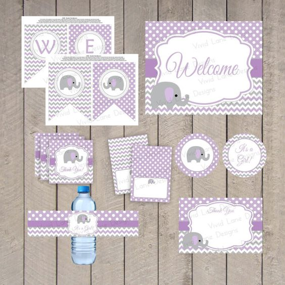 AS IS Instant Download   Purple And Grey Baby Shower Printable Package,  Elephant, Girl
