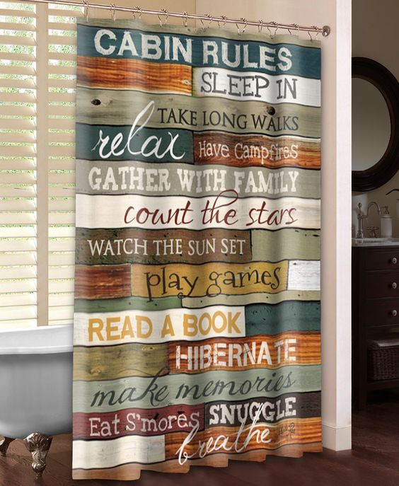Cabin Rules Shower Curtain | Pallet wood, Lakes and Cabin