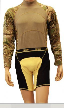 'Kevlar underpants' protect pelvic region  The BCB Protective Under Garment shown here on a mannequin is one of the pelvic protection systems developed by Program Executive Office Soldier.  http://www.army.mil/article/74306/_Kevlar_underpants__protect_pelvic_region/