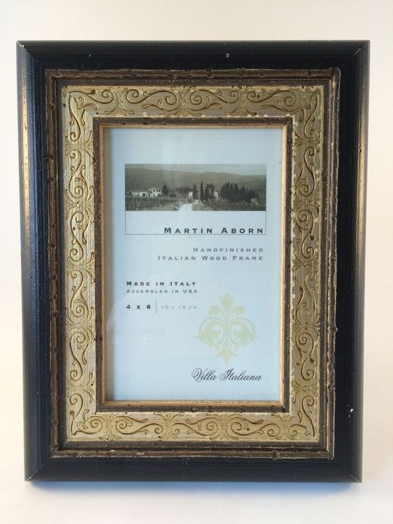 "Martin Aborn 4"" x 6""  Handfinished Italian Wood Dark Brown & Gold Picture Frame #MartinAborn #AntiqueStyle"