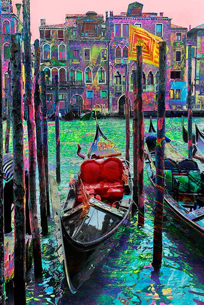 Gondola, moored along the Grand Canal, Venice.: