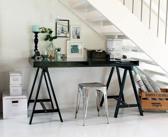 Eclectic Under Stairs Home Office