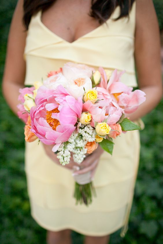 Bridesmaids bouquet with peonies.